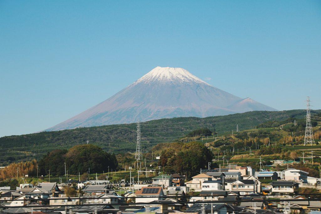 mount fuji from bullet train, japan rail pass