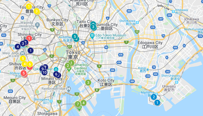 6 day tokyo itinerary map