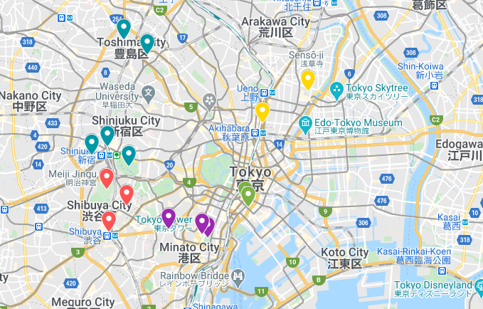 5 day tokyo itinerary map