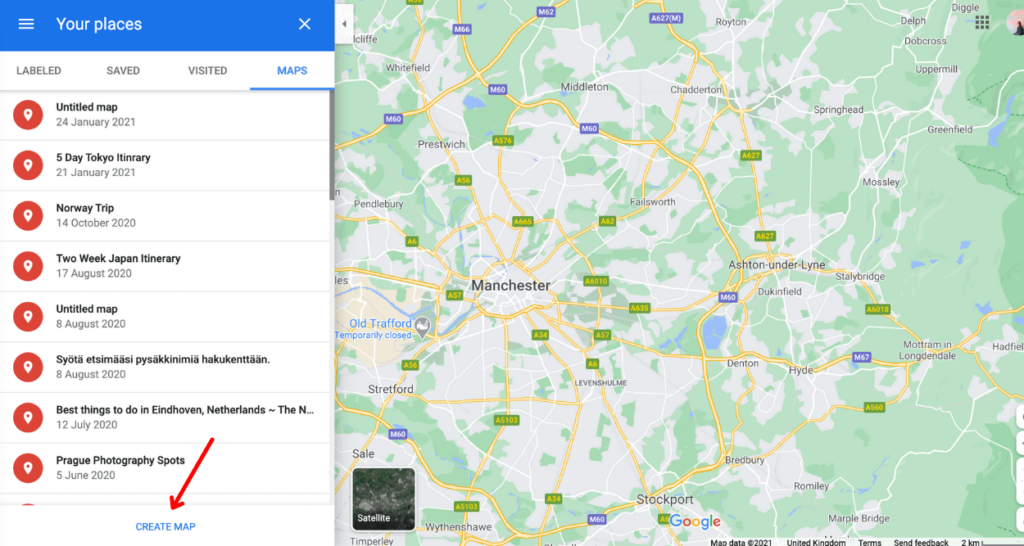 planning trips on Google Maps